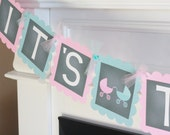 """Pink Blue Chalkboard - """"It's Twins"""" Boy Girl Twins Stroller Buggy Baby Shower Banner - Ask About Party Pack Specials"""