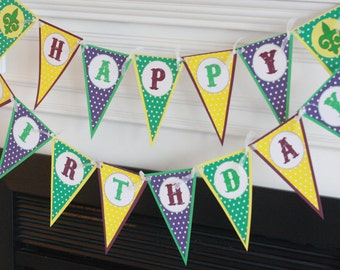 Happy Birthday Pennant Mardi Gras Purple Green Gold Fat Tuesday Fleur de Lis Theme Banner - Ask About Our Party Pack Specials