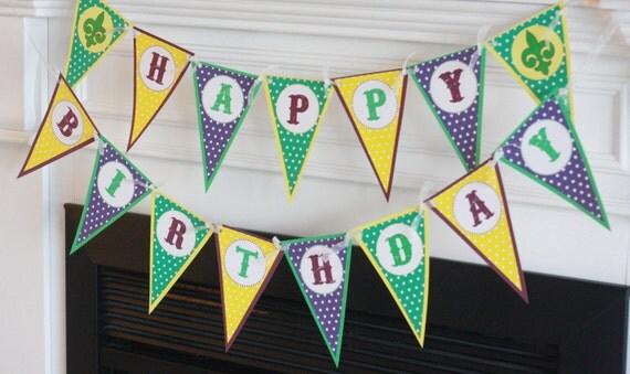 happy birthday pennant mardi gras purple green gold fat