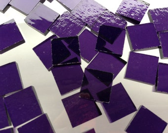 Mosaic Tiles - 100 Small Squares - Purple Stained Glass - Hand-Cut