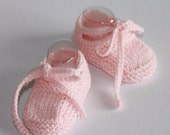 Hand knitted Baby shoe bootie with crochet ties to fit NB to 12M in custom colour Made to order