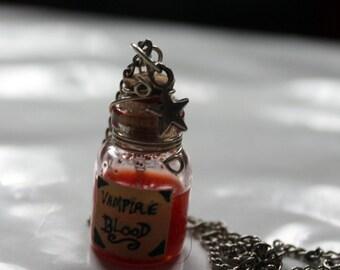 Vampire blood sample bottle necklace goth/creepy/alternative