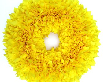 Summer Wreath - Spring Wreath - Fall Wreath - Yellow Wreath - Door Wreath - Shabby Wreath - Cottage Wreath - Rag Wreath - Autumn Wreath