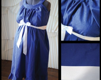 Maternity Hospital Gown- Royal Blue Sparkle, Ruffle (labor and delivery gown)