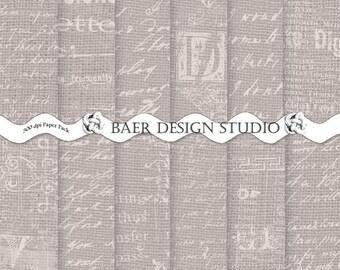 DIGITAL PAPER VINTAGE:Gray Burlap Digital Paper, Digital Paper Sale, French Script Digital Paper, Love Letter Digital Paper, Junk Journaling