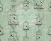 NEW ITEM 6ft x 6ft Vinyl Photography Backdrop / Victorian Birds