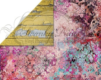 NEW ITEM / 5ft x 5ft REVERSIBLE Vinyl Backdrop / Double sided / Yellow Peeling Wood / Pink Grunge Damask