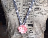 Gray and White Polka Dot Floral Fabric Lanyard with Pink Flower