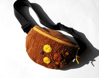 fanny pack/hip bag -  brown and mustard (small size)