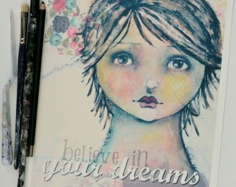 Print 8x10 Girl Face Pretty Soft Dreams Believe Pink Yellow Aqua