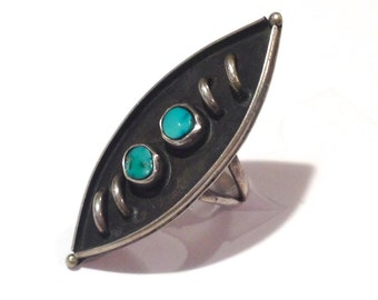EXTREMELY LARGE, Unique Vintage Old Pawn Navajo Sterling Silver & Turquoise Ring by Native American Silversmith Rinnie Leyba 5.5