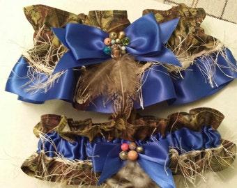Camo / Royal Blue Bridal Garter Set, Keepsake set, Wedding Garters,