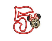 Minnie Mouse Embroidery, Minnie Mouse Birthday Design, Disney Applique, Embroidery Design (207) Instant Download