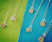 Sterling Silver Hand-Stamped Initial Charm on Silver-Filled Chain with Birthstone Bead CharmLetters A-Z Available