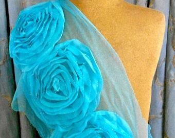 Soft Turquoise Rosette Appliques