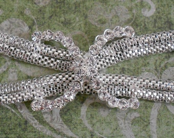 Mesh and Rhinestone Bow Applique