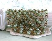 Beaded Chain, Glass Bead Chain, Chain, Bead Chain, Rosary Chain, Jewelry Chain, Brass Chain, Light Green Luster Bead Chain  CHN-120