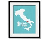 Italy Wedding Gift - Personalized International Europe - Custom Destination - Date - Location City and Country Modern Art Print - 8x10