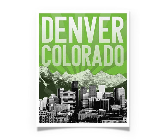 Denver Colorado Rocky Mountains City Skyline - choose your color - Wall Art Souvenir Wedding Gift Print Housewarming