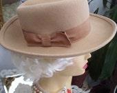 Vintage Beige Wool Felt Big Brim Hat