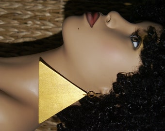 The Pyramids -X-Large Triangle Dangle Earrings -Gold