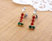 Vintage Rhinestone Christmas Post Earrings. Candle Stick Studs. Red. Green. Crystal.