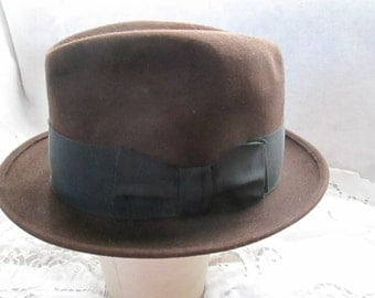 1950's to 70's Male Dark Brown Hat by WRIGHT