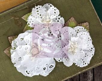 SALE Prima Tiara Flowers White - Eyelet Lace Flowers w/ Stamin - 3 pcs