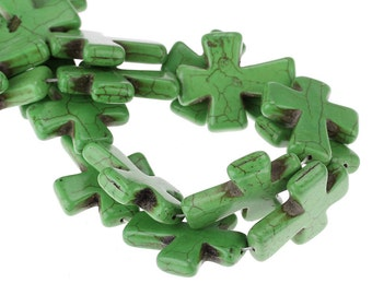 Green Cross Beads - Turquoise - LARGE - 37x31mm - 3pcs - Ships IMMEDIATELY  from California - B978