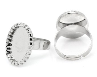 Silver Cabochon Rings Setting - Holds 17x12mm - 5pcs -  Ships IMMEDIATELY  from California - A274