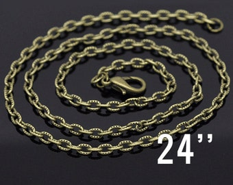 """48 WHOLESALE Necklaces - Antique Bronze Textured Links - 4.5x3mm - 24"""" - Ships IMMEDIATELY  from California - CH188c"""