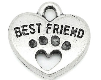 30 Best Friend Charms - Antique Silver Carved - 15x15mm - Ships IMMEDIATELY from California - SC1024a