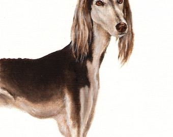 Original Oil Art SALUKI Portrait Painting Dog Artist Signed Artwork Puppy