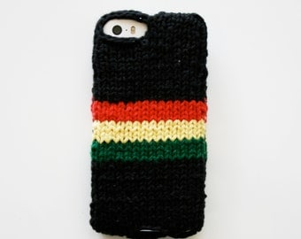 Reggae - black knit phone sweater case with rasta stripes for iPhone