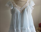 Sheer Blue V-neck Babydoll Romantic Lingerie Top Cult Party Fairy Kei