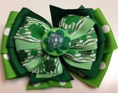 LUCKY Green Glitter Kelly Green Polka Dot St. Patrick's Day Shamrock Irish Ribbon Bow Handmade for PETS Dog Bow Collar Accessory