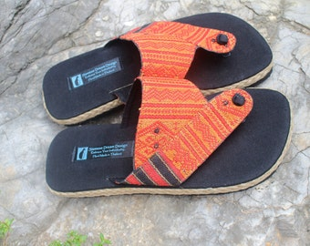 Tribal Mens Sandals in Ethnic Naga Cotton Summer Shoes - Mana
