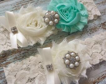 Ivory and Aqua Wedding Garter, Wedding Garter Set, Bridal Garter, Lace Garter, Custom Garter, Toss Garter Included