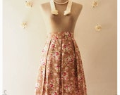 Floral Lady Look Pleated Mid Skirt Brown Floral Skirt Vintage Inspired Skirt Shabby Chic Skirt Sweet Skirt in Brown Skirt -Size S-M-