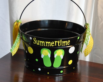 16 qt decorative bucket/ Summertime bucket/ beer bucket/ drink tub/ housewares/ flip flops