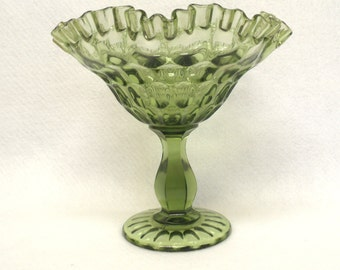 Extra Large Fenton Thumbprint Compote, Green