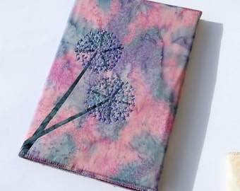 Alliums Hand Stitched A5 Journal / Notebook Cover, Pink, Purple, Blue & Silver