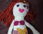 red headed yarn mermaid doll