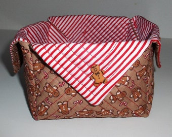 Fabric Baskets - Gingerbread Boys Larger Basket