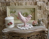 Dollhouse Miniature Shabby Chic Farmhouse Vintage Style Pink Metal Rooster Ornament Statuette