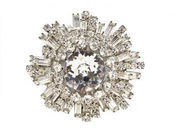 Lilly Dache Rhinestone Brooch, Rhinestone Pendant, Art Deco Sunburst, Silver Metal, Vintage 1950s, Dome Brooch