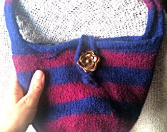 Burgundy & Navy Blue Striped Purse, knit, felted, shoulder bag, handbag, maroon and blue with flowers