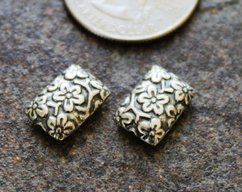 Sterling Silver Bali Floral Beads, Oxidized 12 x 8.3 x 3.9 mm, package of 2