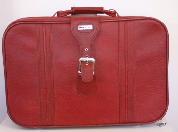 Red Vintage Suitcase Red Leather Vintage Suitcase