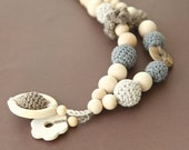Nursing crochet statement necklace with natural stone. Teething ring pendant necklace for baby and newmom